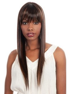 Long Silky Synthetic Straight African American Wig