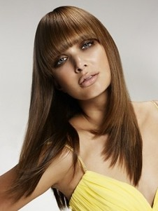 Cute Women Straight Brown Human Hair Wig