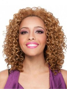 Medium Curly African American Wig Without Bangs