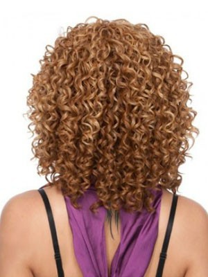 Medium Curly African American Wig Without Bangs  - Image 2