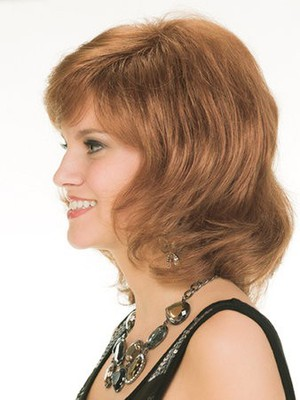 Simple Length Medium Wavy Human Hair Wig - Image 3
