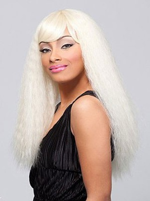 Straight Blonde Remy Human Hair Long African American Wig - Image 1