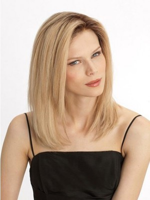 Romantic Remy Hair Straight Medium Lace Front Wig - Image 2