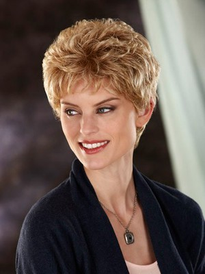 Short Slightly Waves Fashionable Synthetic Wig - Image 1