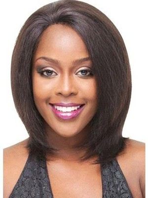 Lace Front Straight Remy Human Hair African American Wig - Image 1