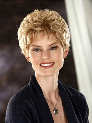 Short Slightly Waves Fashionable Synthetic Wig - Image 4