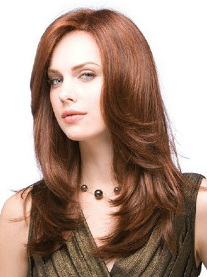 Long Wonderful Straight Human Hair Layers Full Lace Wig - Image 2
