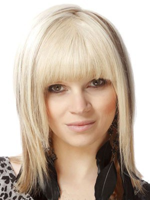 Capless Medium Length Pretty Human Hair Wig - Image 2