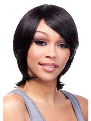 Popular Medium Human Hair Capless African American Wig With Bangs  - Image 2