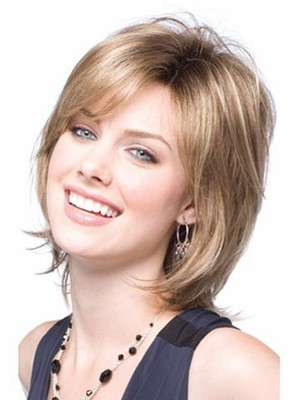 Length Medium Nice-looking Blonde Synthetic Wig - Image 2