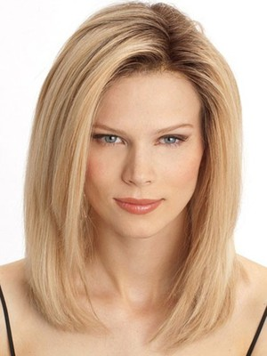 Romantic Remy Hair Straight Medium Lace Front Wig - Image 1