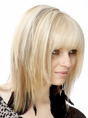 Capless Medium Length Pretty Human Hair Wig - Image 3