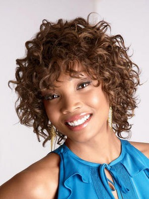 Capless Synthetic Medium Curly African American Wig - Image 1