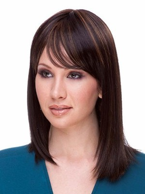 Attractive Length Medium Synthetic Straight Wig - Image 1