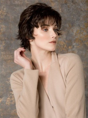 Comfortable Brown Short Wavy Monofilament Most Popular Cheap Wig - Image 2
