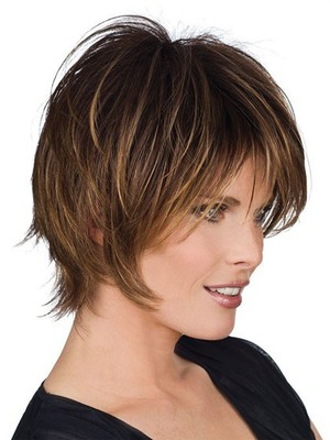 Fine Medium Length Straight Human Hair Wig - Image 1