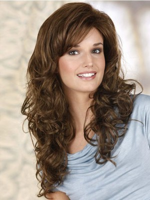 Wavy Fashionable Lace Front Wig With Side Swept Bangs  - Image 3