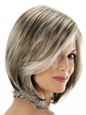 Angled Sides Synthetic Capless Gray Wig - Image 2