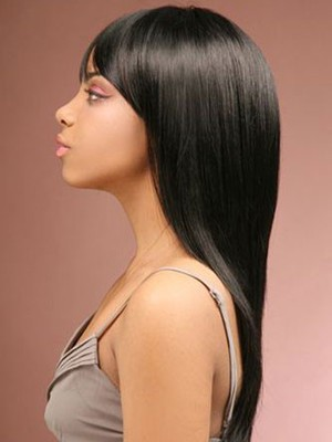 Sleek Straight Remy Human Hair Long African American Wig - Image 3