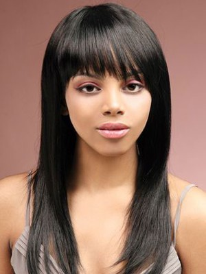 Sleek Straight Remy Human Hair Long African American Wig - Image 1