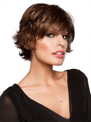 Comfortable Brown Short Wavy Monofilament Most Popular Cheap Wig - Image 3