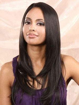 Human Hair Dazzling Lace Front Straight Wig - Image 1