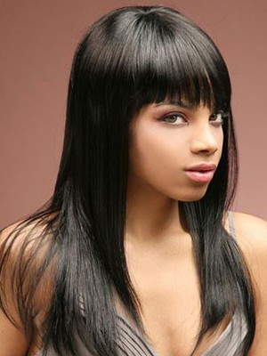 Sleek Straight Remy Human Hair Long African American Wig - Image 2