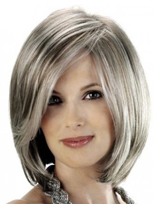Angled Sides Synthetic Capless Gray Wig - Image 1