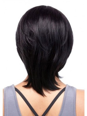 Popular Medium Human Hair Capless African American Wig With Bangs  - Image 3