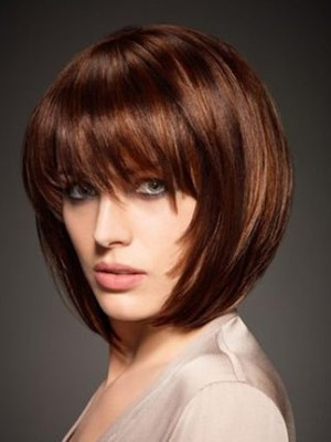 Short Silky Marvelous Bob Wig With Eye-length Full Bang  - Image 1