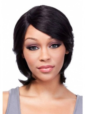 Popular Medium Human Hair Capless African American Wig With Bangs  - Image 1