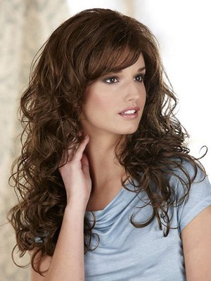 Wavy Fashionable Lace Front Wig With Side Swept Bangs  - Image 2