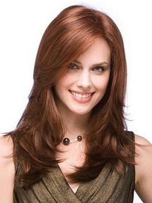 Long Wonderful Straight Human Hair Layers Full Lace Wig - Image 1
