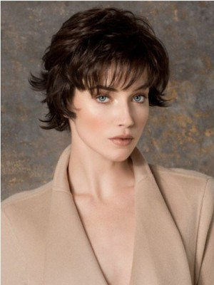 Comfortable Brown Short Wavy Monofilament Most Popular Cheap Wig - Image 1