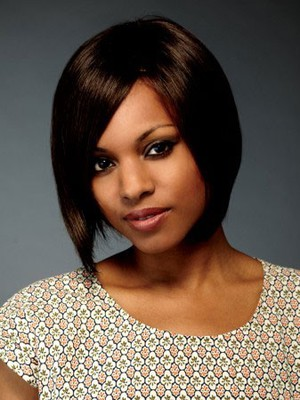 Human Hair Silky Straight Bob Style African American Wig - Image 1