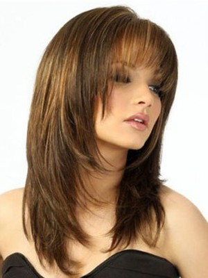 Brown Admirable Capless Wig With Feathered Ends  - Image 2