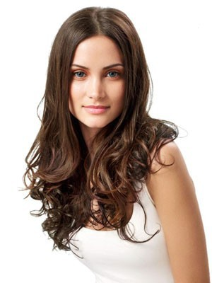Human Hair Long Wavy Stylish Lace Front Wig - Image 1