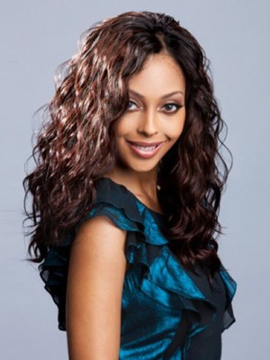 Long Human Hair Lace Front Wavy African American Wig - Image 1