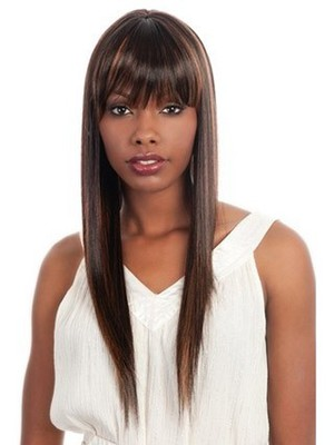 Long Silky Synthetic Straight African American Wig - Image 1