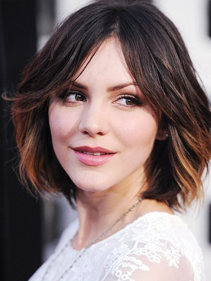 Katharine Mcphee Central Parting Human Hair Hairstyle Celebrity Wig